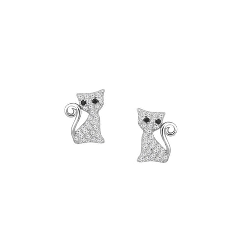 Cat Prong-set CZ's Sterling Silver Post Earrings