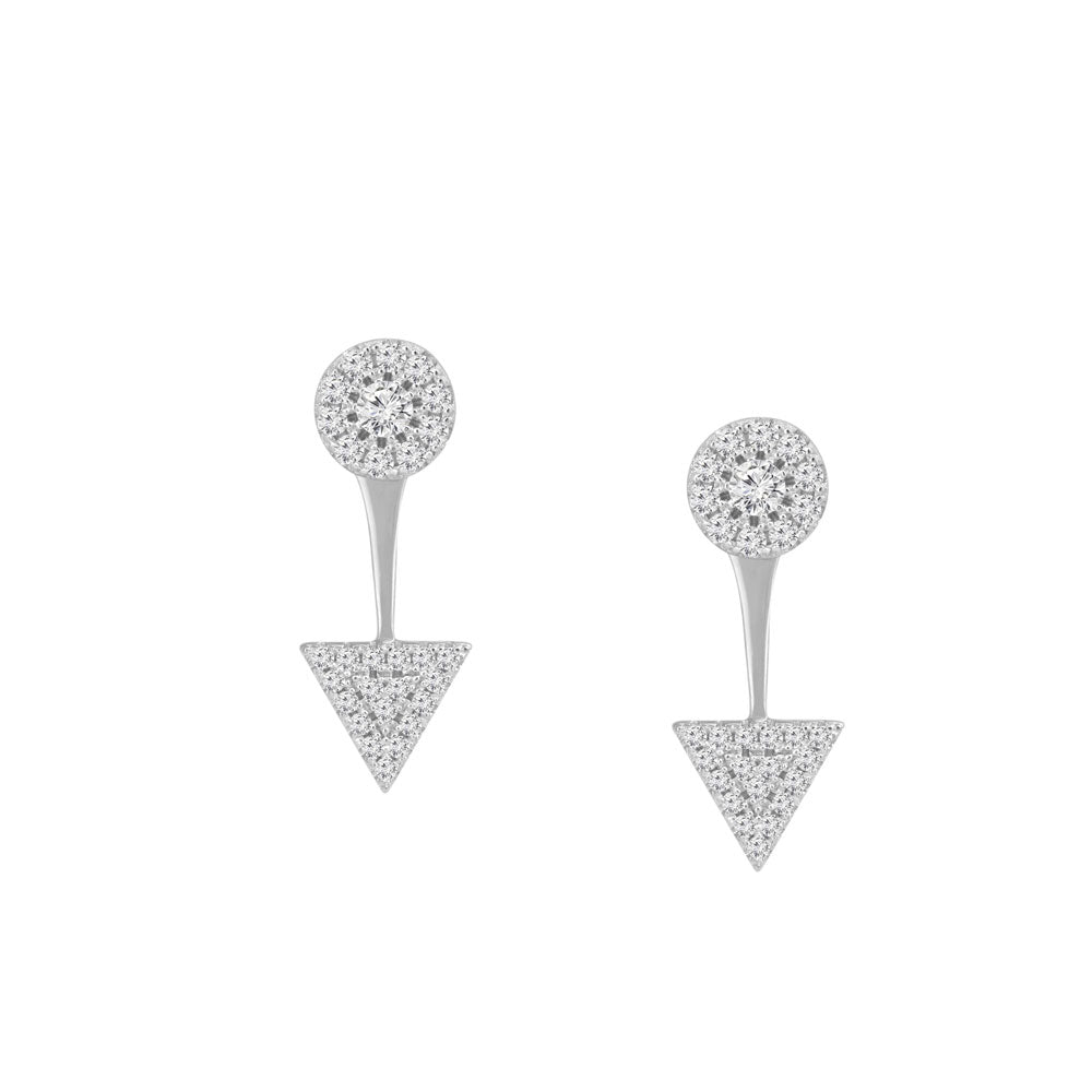 Circle and Arrow Prong-set CZ's Sterling Silver Front Back Earrings