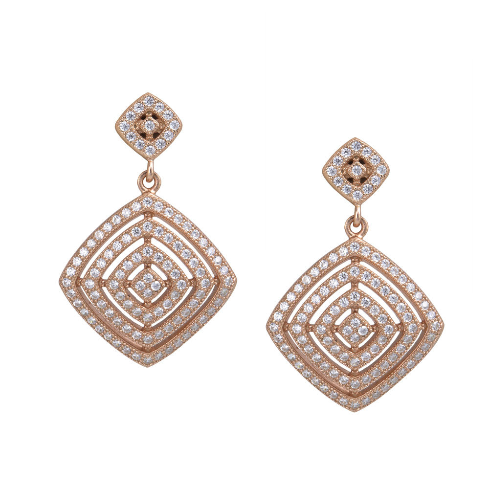 Open Diamond Shape Prong-set CZ's 18K Rose Gold over Sterling Silver Dangling Earrings