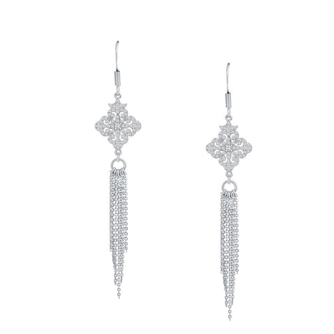 Diamond Shape Prong-set CZ's  Sterling Silver Fringe Dangling Earrings