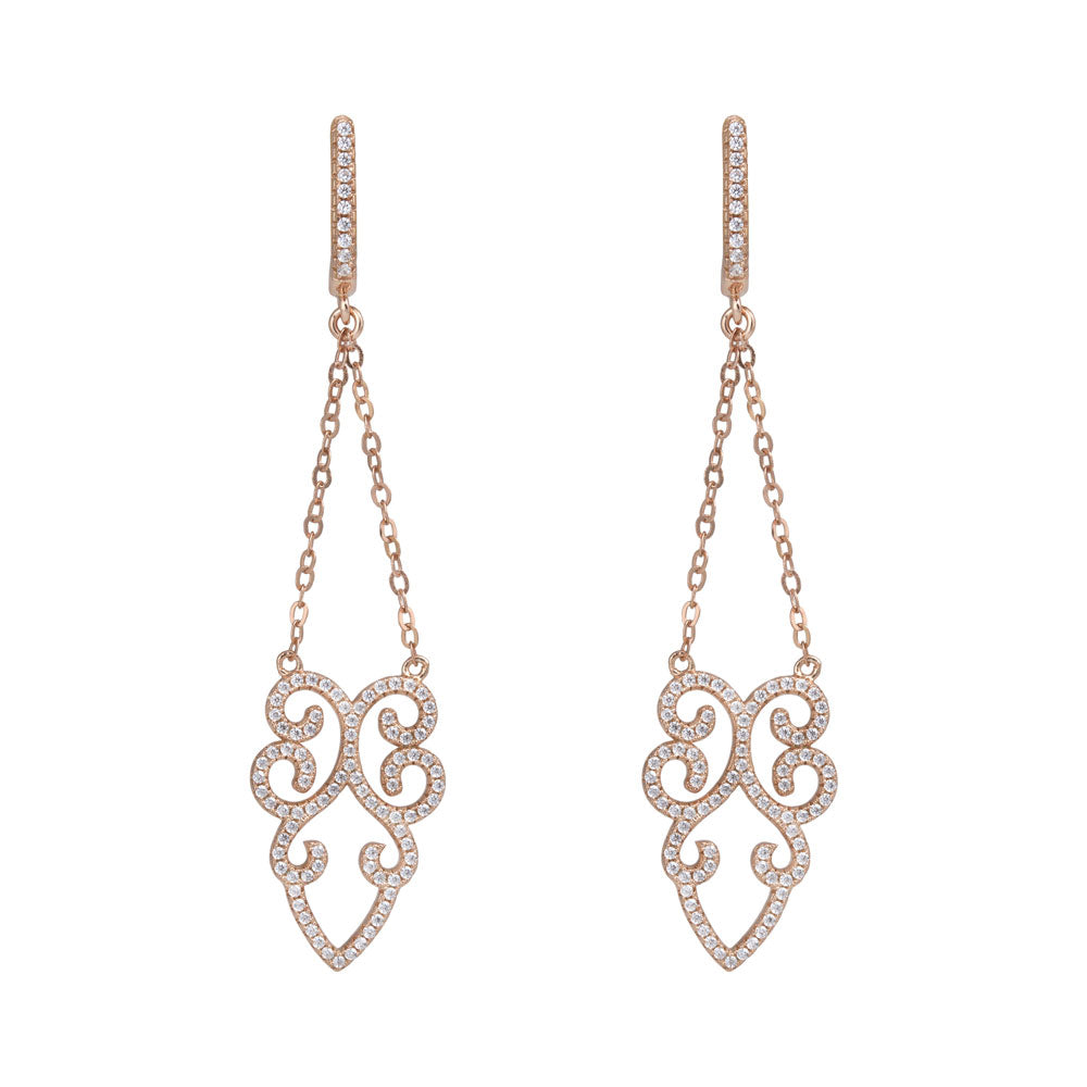 Open Flower Chandelier Prong-set CZ's 18K Rose Gold Plated over Sterling Silver Dangling Earrings