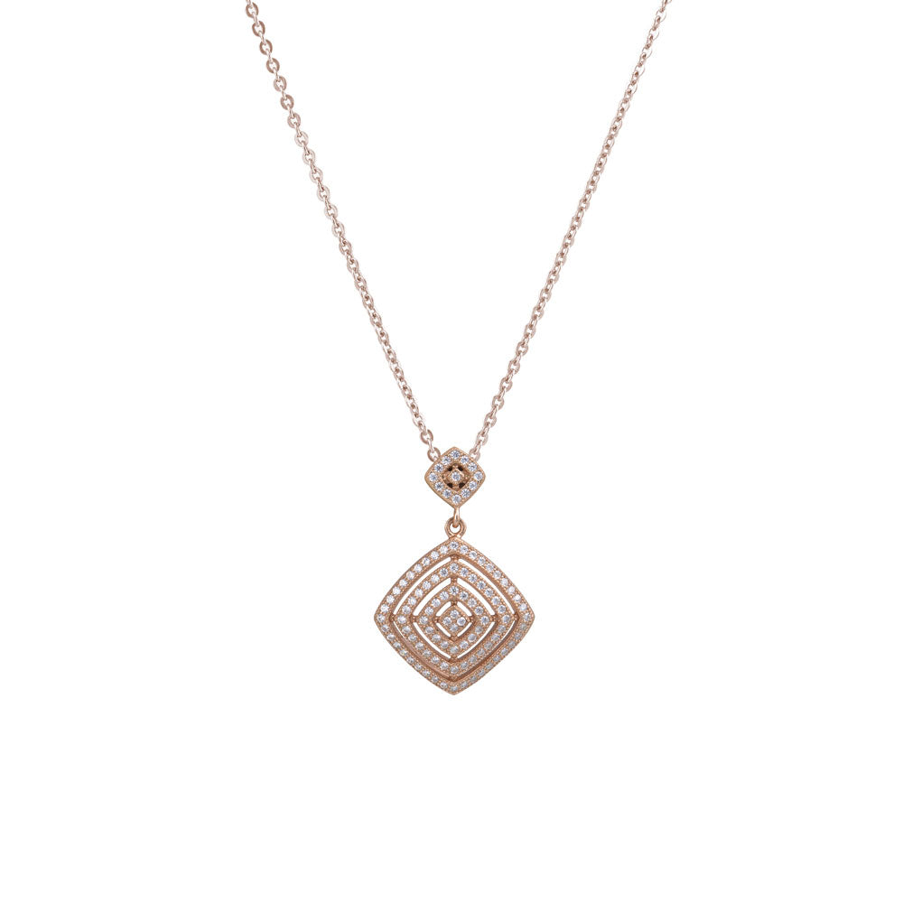 Open Diamond Shape Prong-set CZ's 18K Rose Gold over Sterling Silver Pendant Necklace