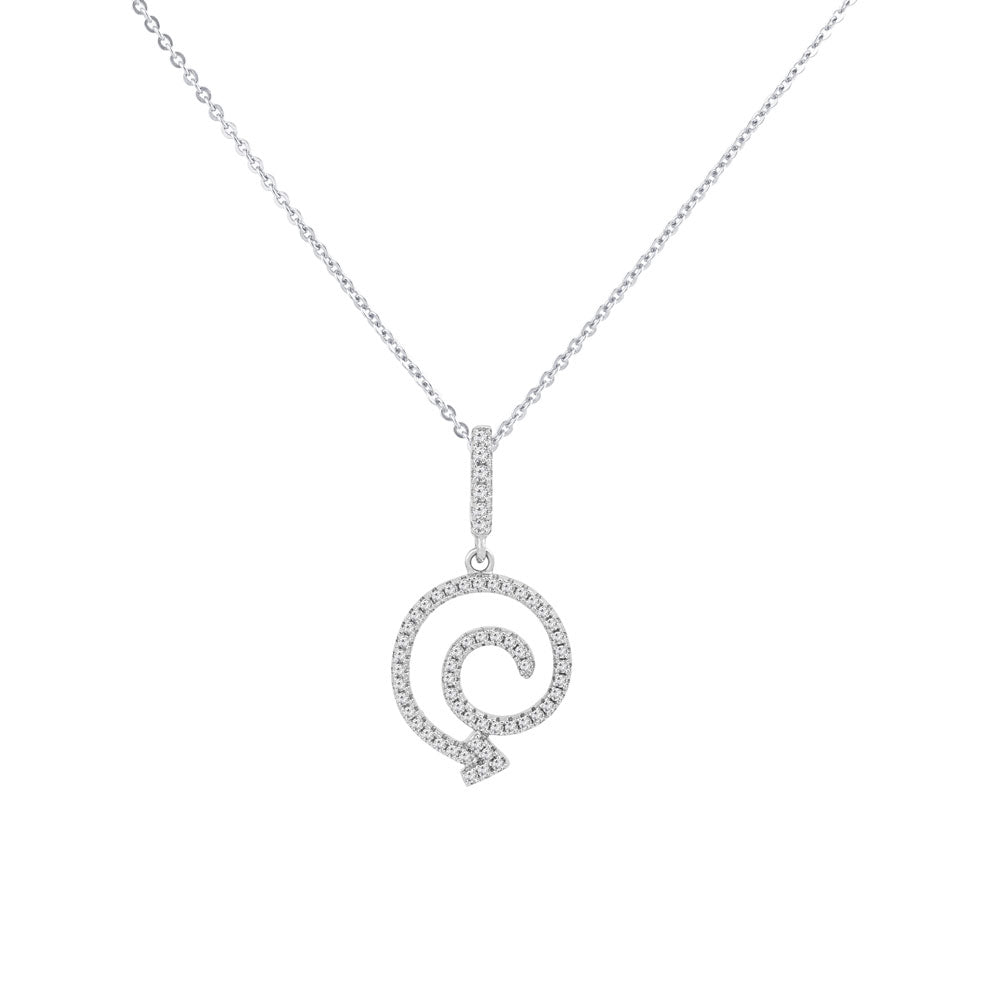Swirl Arrow Prong-set CZ's  Sterling Silver Pendant Necklace