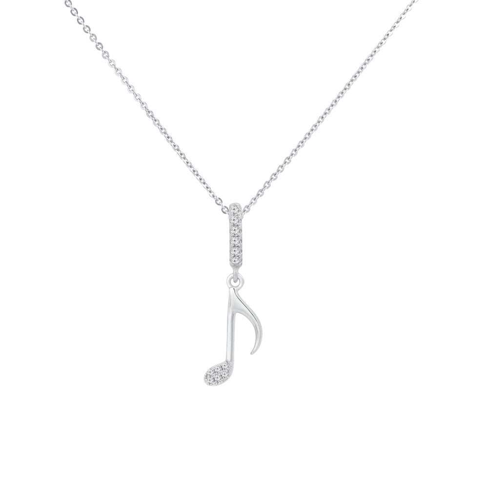 Quaver Note Prong-set CZ's Sterling Silver Pendant Necklace