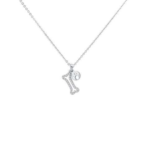 Dog  Bone Pave Prong-set CZ's Sterling Silver Pendant Necklace