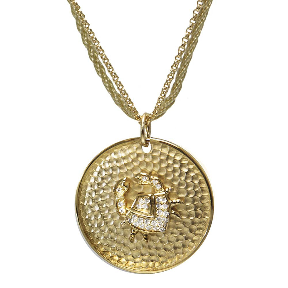 "18K YG Plated ""Cancer Zodiac"" White CZ Pendant Necklace"