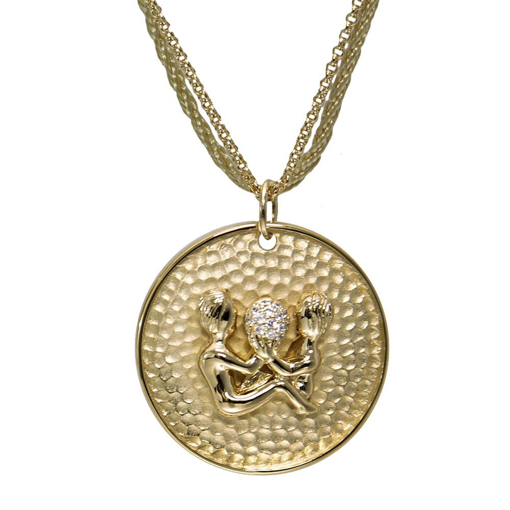 "18K YG Plated ""Gemini Zodiac"" White CZ Pendant Necklace"