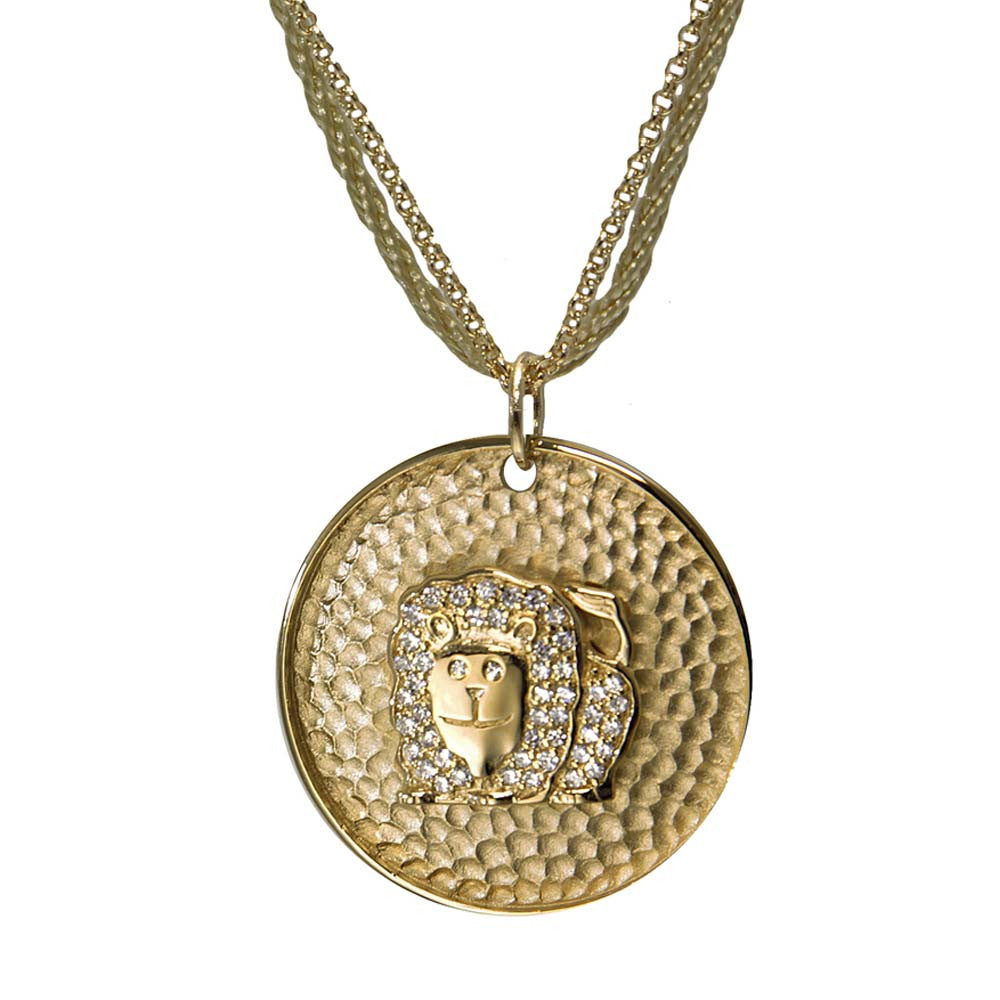 "18K YG Plated ""Leo Zodiac"" White CZ Pendant Necklace"