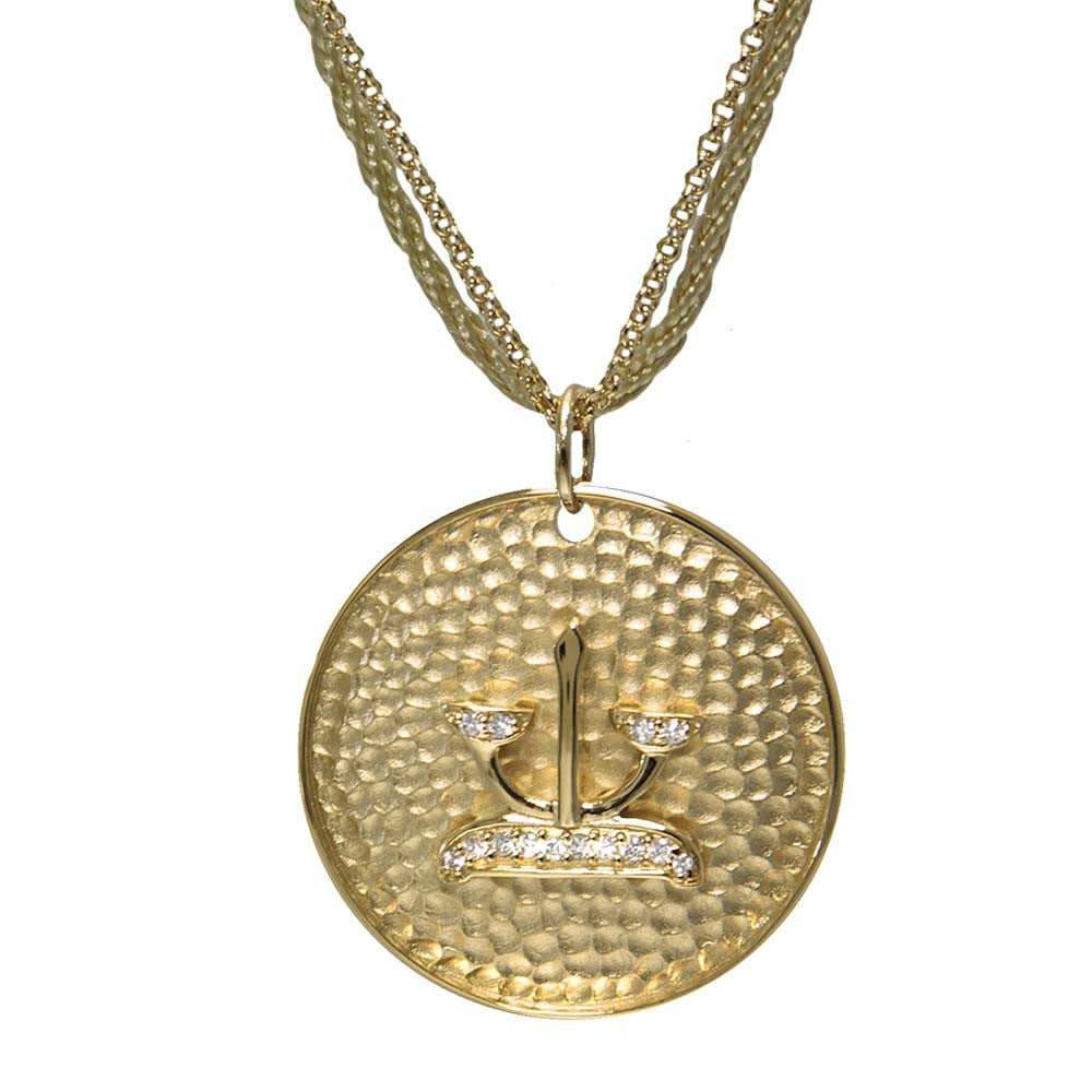 "18K YG Plated ""Libra Zodiac"" White CZ Pendant Necklace"