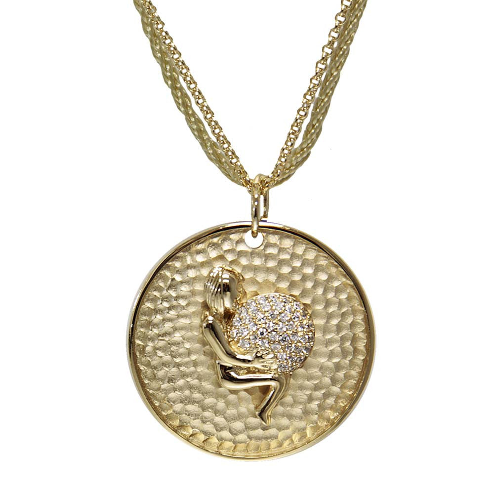 "18K YG Plated ""Virgo Zodiac"" White CZ Pendant Necklace"