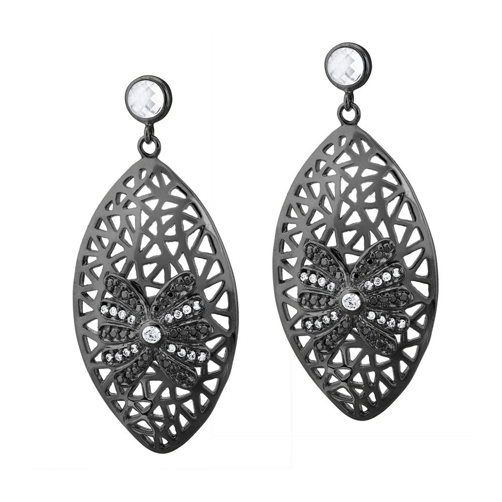Black Rhodium Plated, Edgy Glamour Cz Earrings