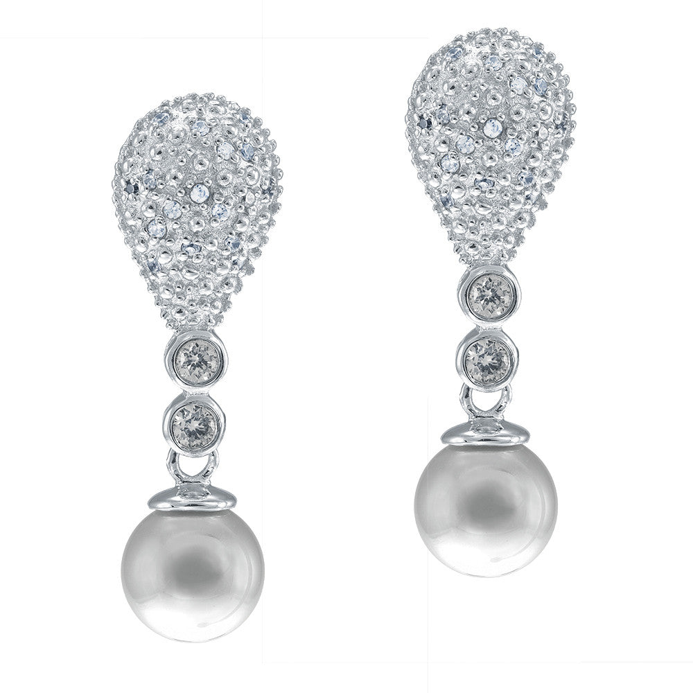 """Classic Pearl"" Clear CZ Drop Earrings More Colors"