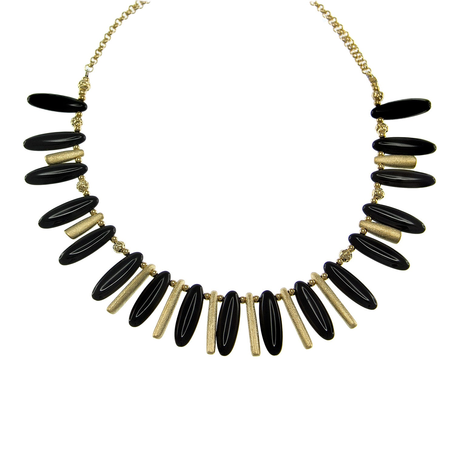 """Sovereign Glamour"" Black Agate Necklace / Gold Tone"