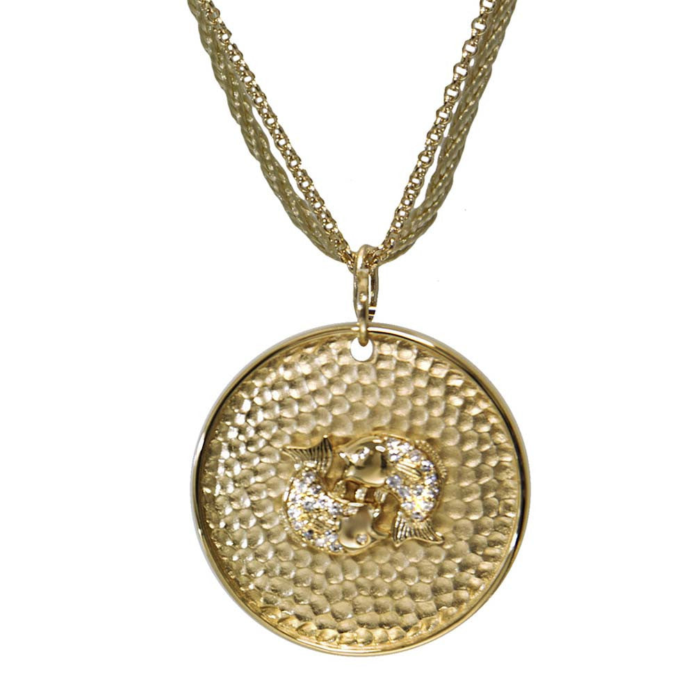 "18K YG Plated ""Pisces Zodiac"" White CZ Pendant Necklace"