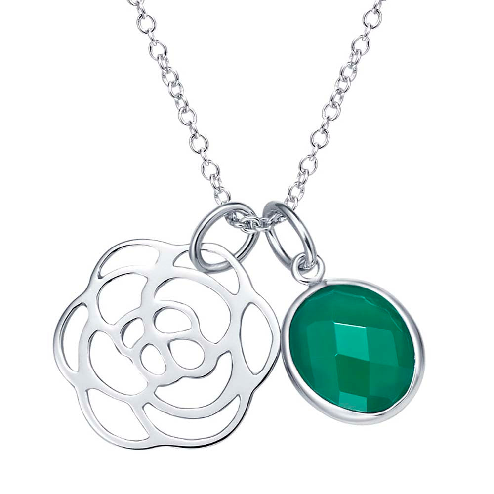 """Delicate"" Faceted Green Onyx Flower Pendant Necklace"