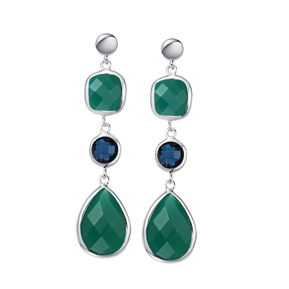 """Delicate"" Faceted Semi-Precious Triple Drop Earrings More Colors"