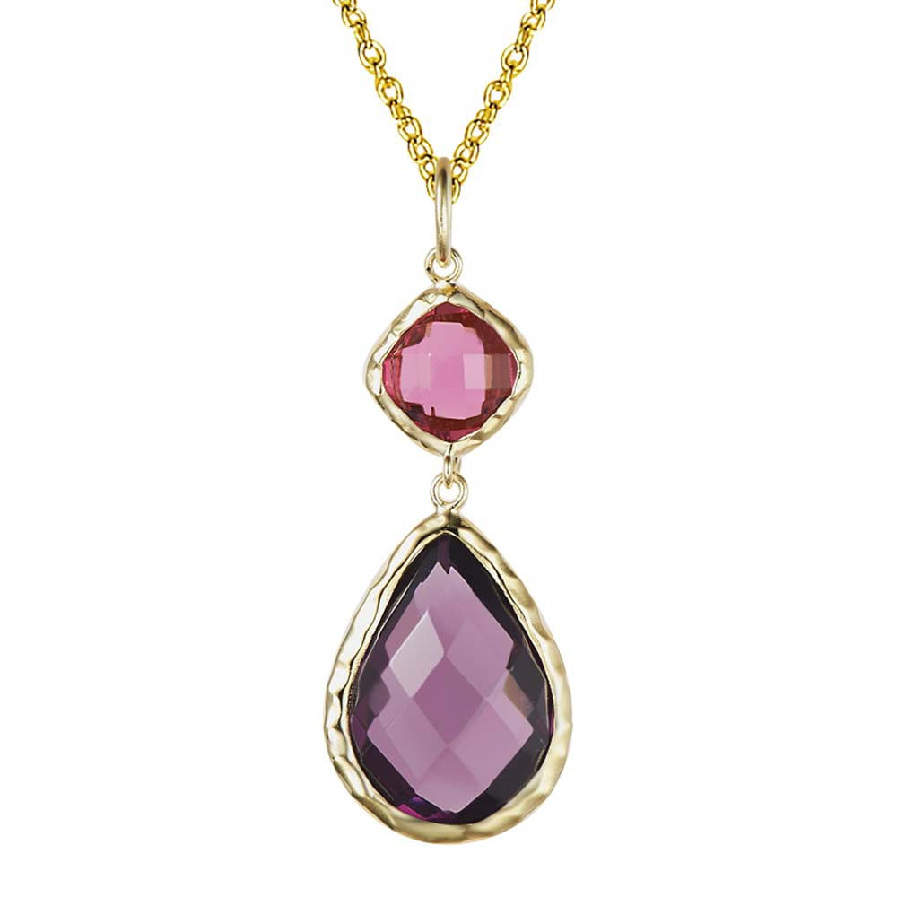 """Delicate"" Faceted Semi-Precious Double Drop Pendant Necklace More Colors"