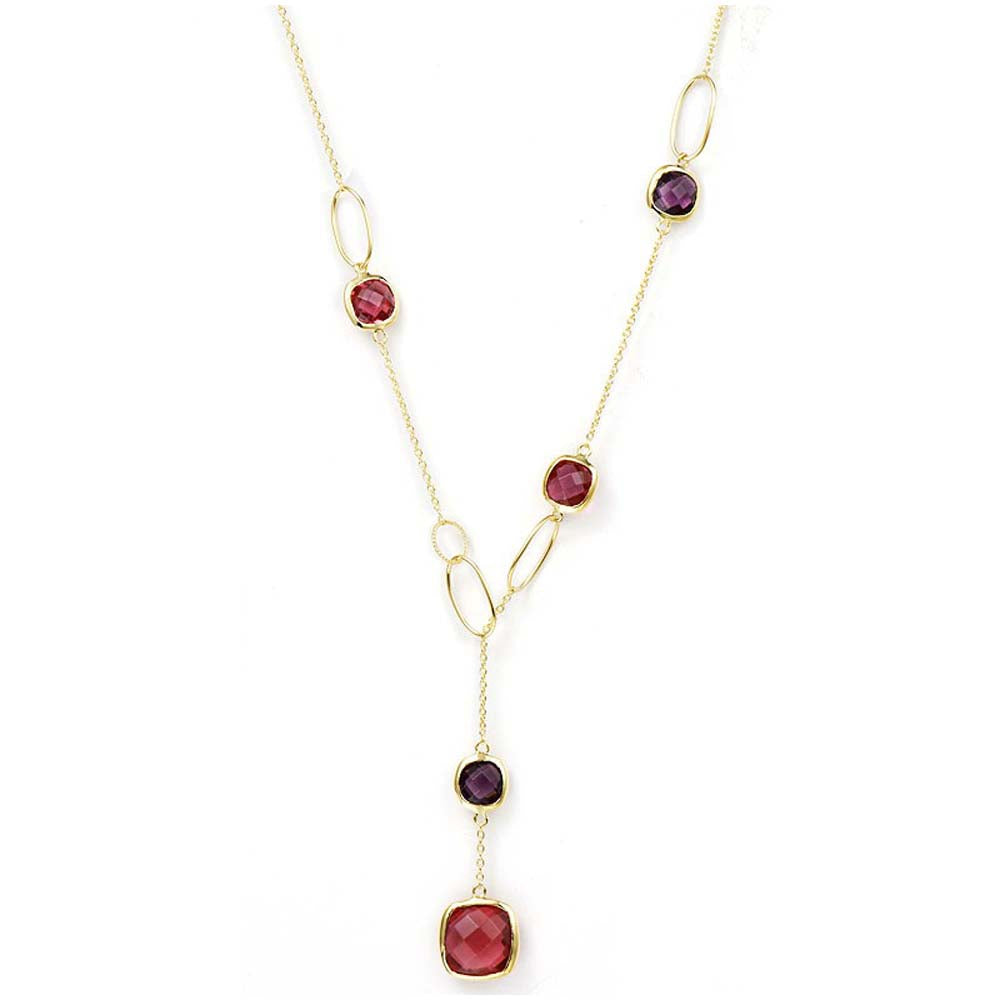 """Delicate"" Faceted Semi-Precious Station Lariat Necklace More Colors"