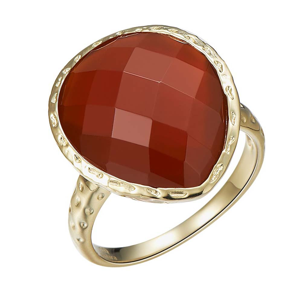 """Delicate"" Faceted Carnelian Drop Ring"