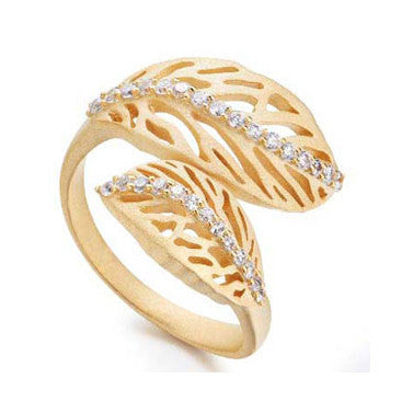 18K YG Plated Brass Clear CZ Falling Leaves Wrap Around Adjustable Ring