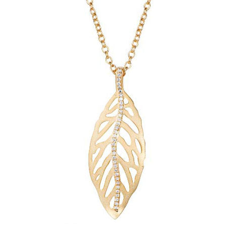 18K YG Plated Brass Clear CZ Falling Leaves Gold Leaf