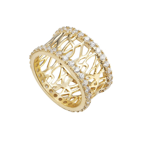 18K YG Plated Brass Clear CZ Secret Maze Eternity Band
