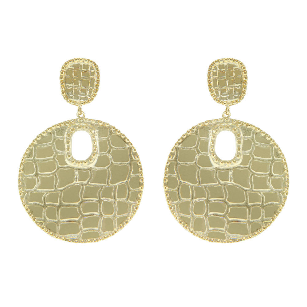 """Croco Moderne"" Metal Drop Earrings More Colors"