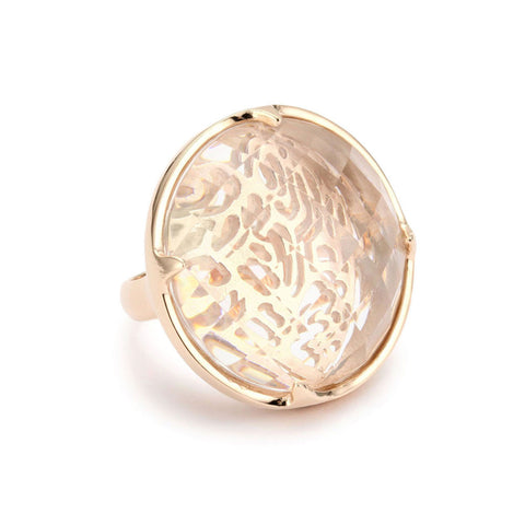 """Candy"" Champagne Colored Stone Cocktail Ring"
