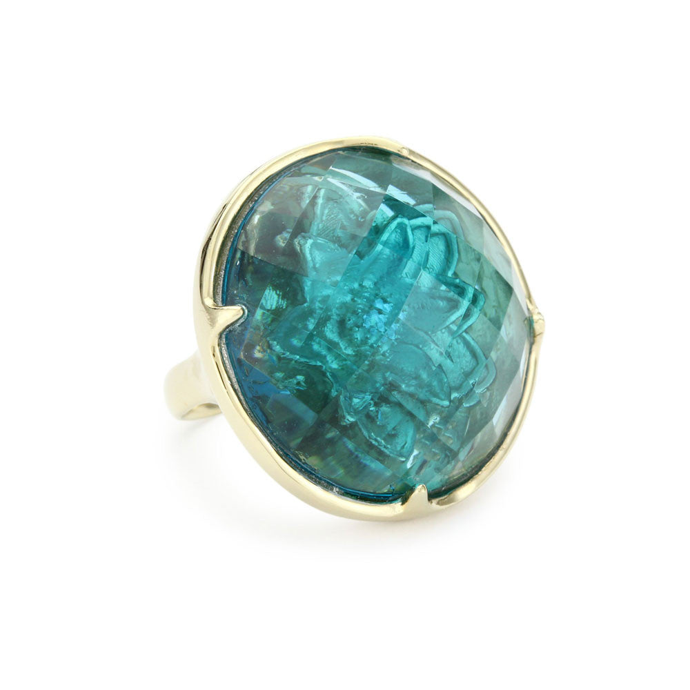 """Candy"" Green Colored Stone Cocktail Ring"