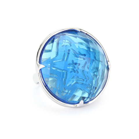 """Candy"" Blue Colored Stone Cocktail Ring"