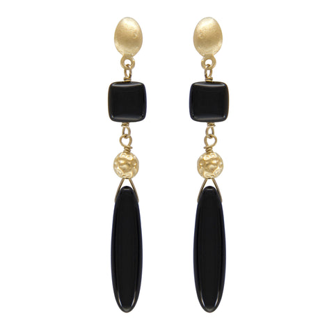 "18K YG Plated ""Doyenne"" Black Agate Gypsy Earrings"