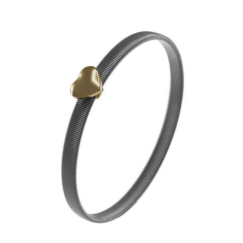 """Heart of the City"" Two-Tone with Puffed Heart Bangle GOLD"