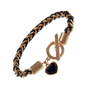 """Divine Love"" Heart Charm Toggle Bar Bracelet More Color"