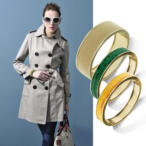 """Sabi Colori"" Twilight Croco Inlay Thin Hinge Bangle"