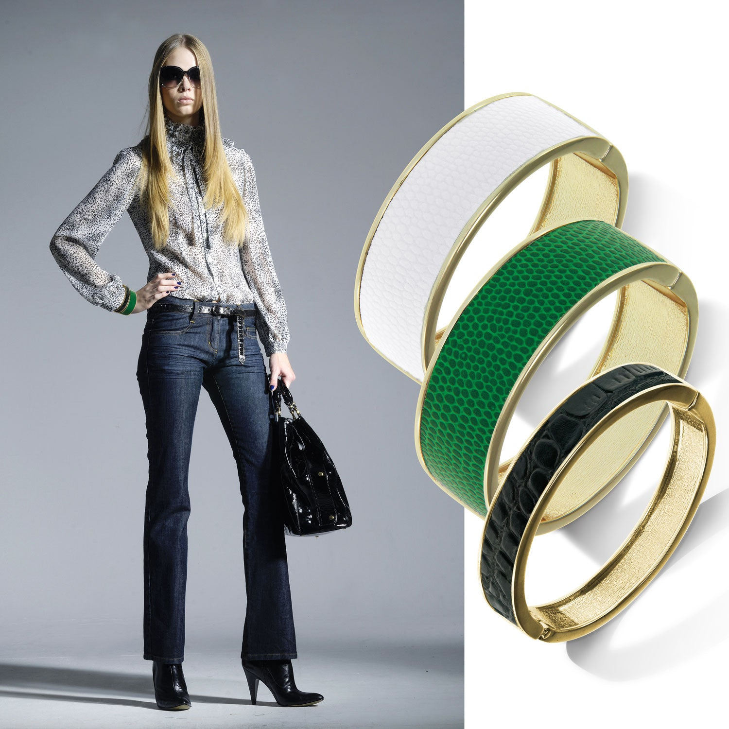 """Sabi Colori"" Noir Black Croco Inlay Thin Hinge Bangle -Goldtone"