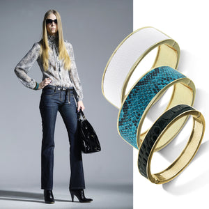 """Sabi Colori"" Viridian Blue Python Inlay Wide Hinge Bangle- Goldtone"