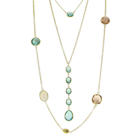 """Lido Trio"" Set of 3 Blue Crystal Necklaces"