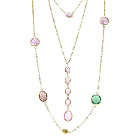 """Lido Trio"" Set of 3 Pink Crystal Necklaces"