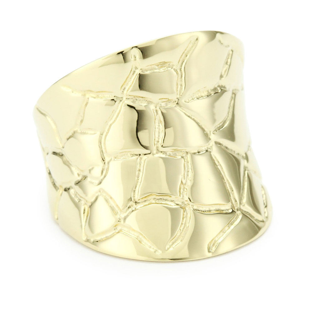 """Croco Moderne"" Metal Band Ring"