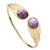 """Deco Owl"" Purple Crystal Goldtone Cuff Bracelet"