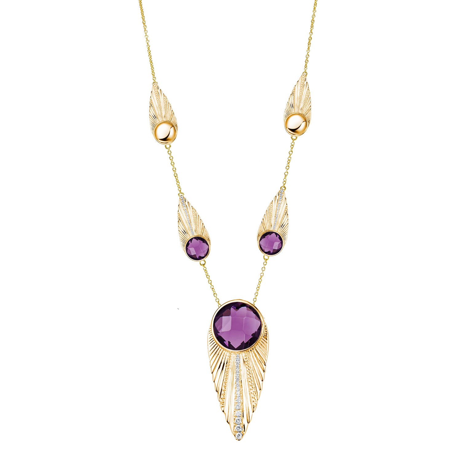 """Deco Owl"" Purple Crystal Goldtone 16-3/4"" Station Neckalce"