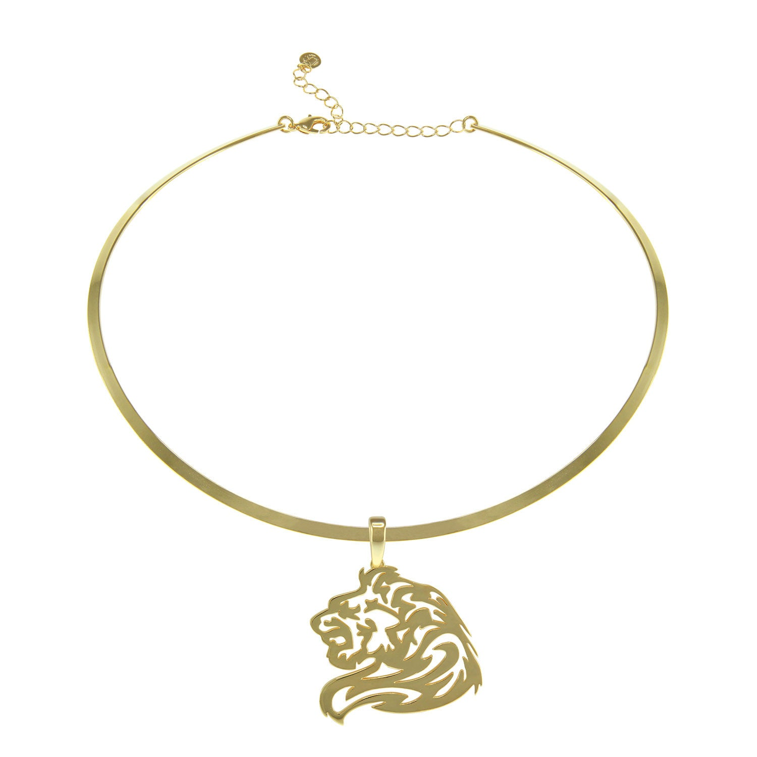 """Animal Instinct"" Lion Goldtone Laser-Cut Pendant with 16"" Collar Necklace"