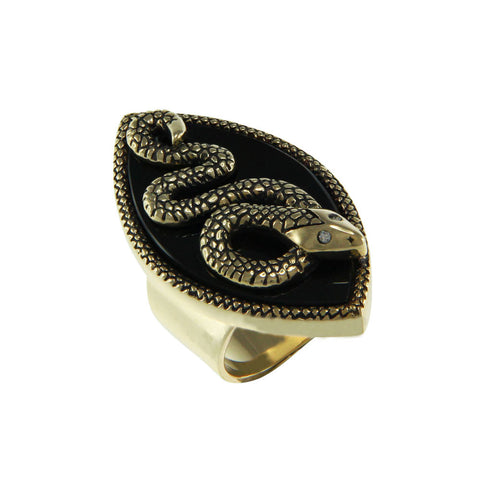 """Serpent"" Onyx and CZ Goldtone Ring"