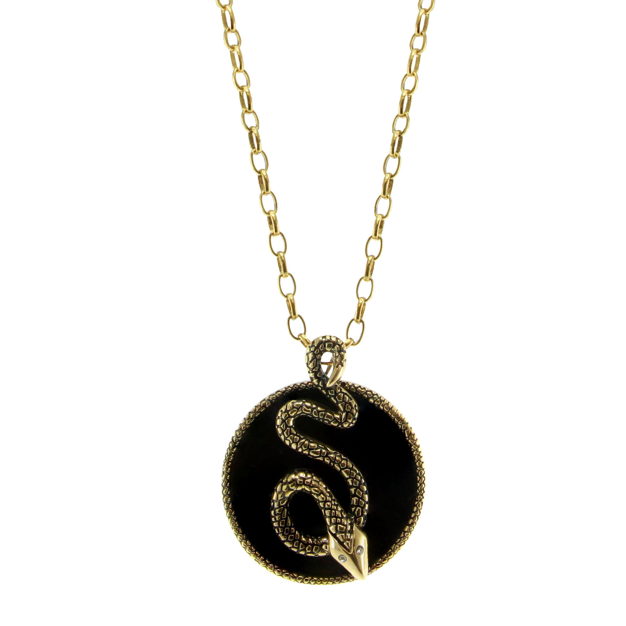 """Serpent"" Onyx and CZ Goldtone Pendant with 16-1/4"" Chain"