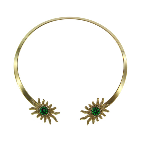 """Sole"" Green Stone Goldtone 16-1/2"" Collar Necklace"
