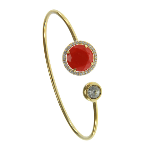 Coral Faceted Crystal Pave Prong-Set CZ's Wire Cuff Bracelet / Gold tone