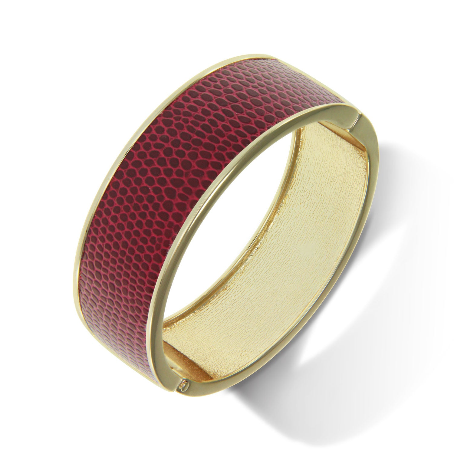 """Sabi Colori"" Lizard Inlay Wide Hinge Bangle - Goldtone ** VIEW MORE COLORS **"