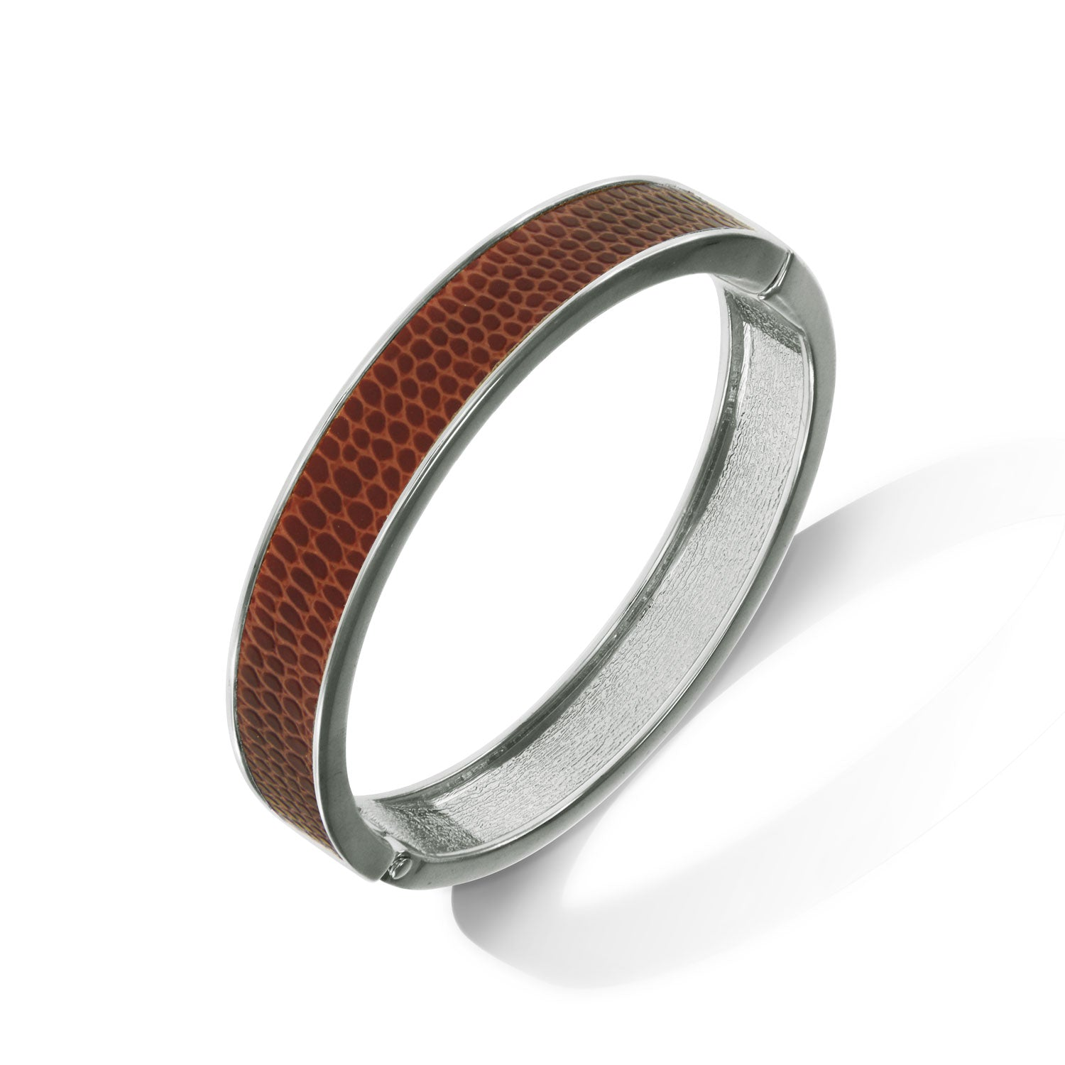 """Sabi Colori"" Sienna Brown Lizard Inlay Thin Hinge Bangle -Silvertone"
