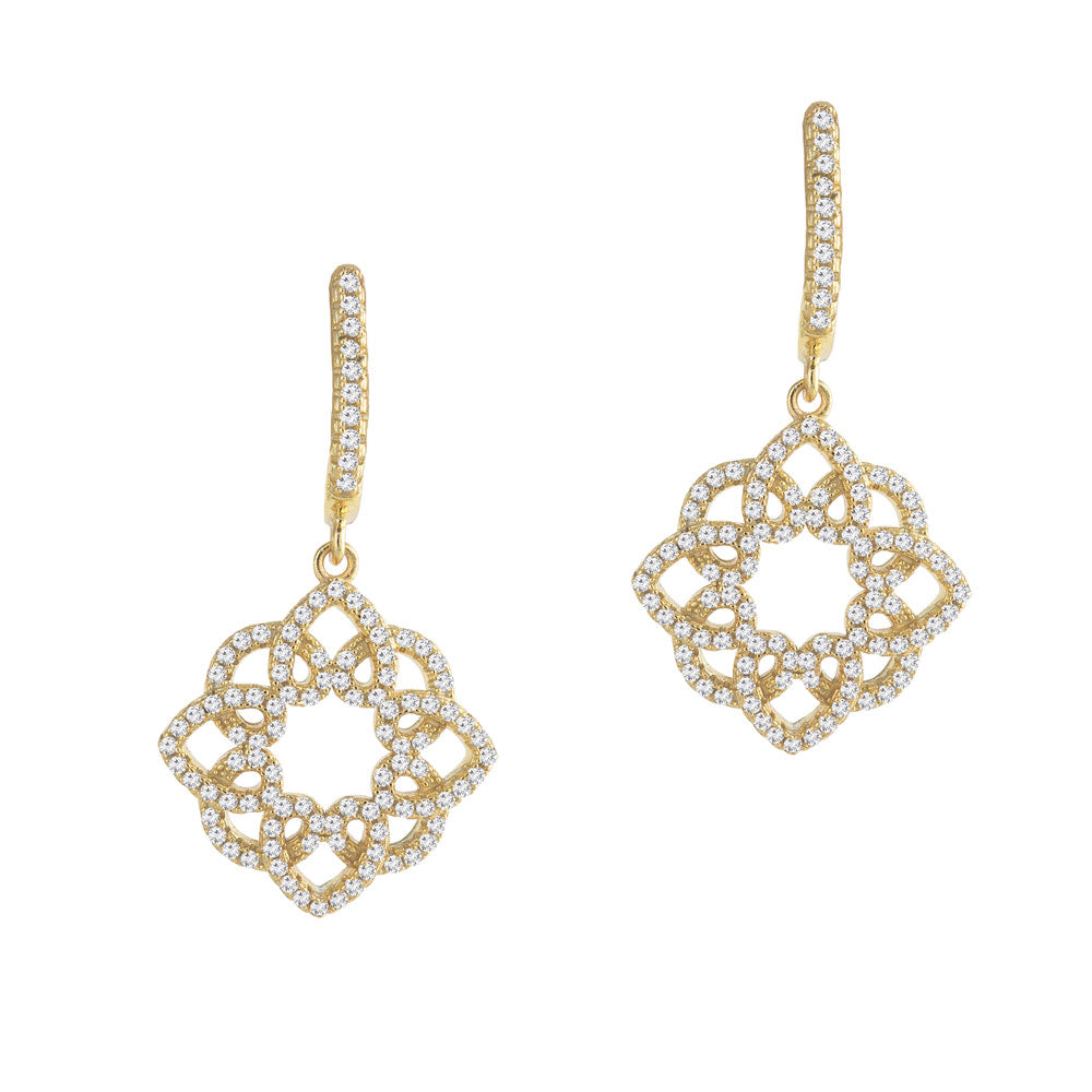 Open Flower Prong-set CZ's 18K Gold Plated over Sterling Silver Dangling Earrings