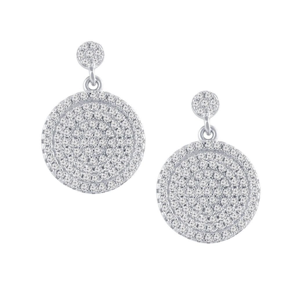 Circle Pave Prong-set CZ's Sterling Silver Dangling Earrings